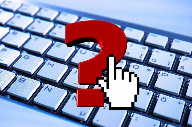 klávesnice, otazník, ruka